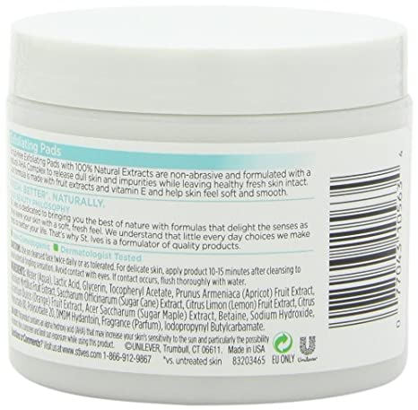 St Ives Face Care Pads, Exfoliating Pads 60 Count by St. Ives: Amazon.es: Belleza