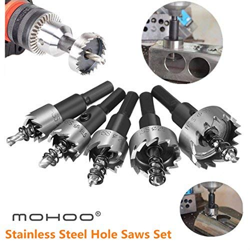 (MOHOO 5PCS 16-30MM HSS Drill Bit Hole Saws Set Stainless High Speed Steel Metal Alloy)