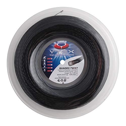 YTEX Quadro Twist Black Tennis Racquet String Reel (16 Gauge, 1.26mm)