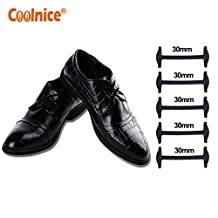 Coolnice® No Tie Shoelaces for Business Men and Women Dress Leather Shoe Laces - Tieless Shoes Boots Silicone Waxed Thin Oxford Round Shoe Laces