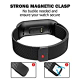 POY Metal Replacement Bands Compatible for Fitbit Charge 3 and Charge 3 SE Fitness Activity Tracker, Milanese Loop Stainless Steel Bracelet Strap with Unique Magnet Lock for Women Men, Small Black