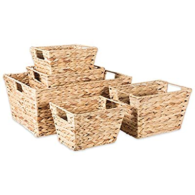 "DII Natural Water Hyacinth Storage Basket with Handles, Beige - SET OF 5 BASKETS - Includes two Small (9x7x6""), two Medium (11x9x7""), and one X Large (17.9x13x7.88"") hyacinth baskets. HAND-WOVEN - These baskets are hand-woven for that unique charm, so actual sizes may vary slightly. SUFFICIENT STORAGE WITH STRONG CONSTRUCTION- Hyacinth storage baskets have a strong woven design with carrying handles for easy carrying. - living-room-decor, living-room, baskets-storage - 51IVx9NMTsL. SS400  -"