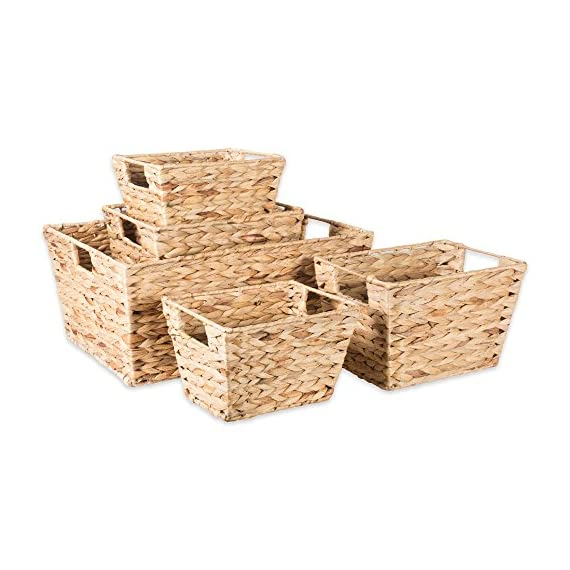 """DII Natural Water Hyacinth Storage Basket with Handles, Beige - SET OF 5 BASKETS: Includes two small (9x7x6""""), two medium (11x9x7""""), and one large (12.6x9x7.88"""") hyacinth baskets HAND-WOVEN: These baskets are hand-woven for that unique charm, so actual sizes may vary slightly SUFFICIENT STORAGE WITH STRONG CONSTRUCTION: Hyacinth storage baskets have a strong woven design with carrying handles for easy carrying - living-room-decor, living-room, baskets-storage - 51IVx9NMTsL. SS570  -"""