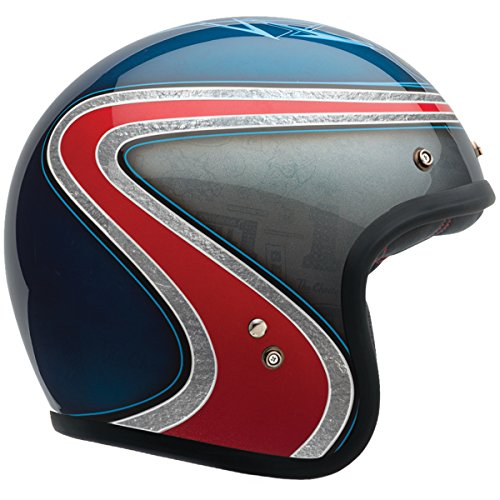 Bell Custom 500 Unisex-Adult Open face Street Helmet (Airtrx Heri Blue/Red, Large) - Bell Helmets Face Open