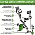 ShareVgo Bluetooth Smart Folding Semi Recumbent Magnetic Upright Exercise Bike with Free APP for Workout Log and Track, Backrest, Pulse Sensors and Tablet Holder - SXB1000