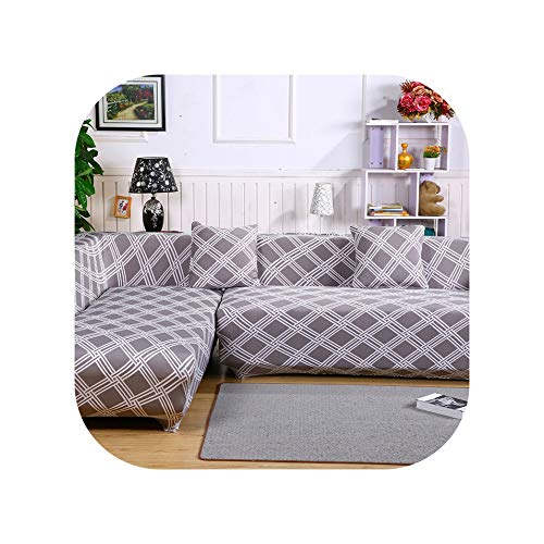 Sexy Stores 2pcs Covers for Corner Sofa Sectional Sofa Cushion Covers Universal Elastic Stretch L Shaped Sofa Covers Furniture Protector,9,1Seater and 3Seater - Universal Chaise Cushion Canvas