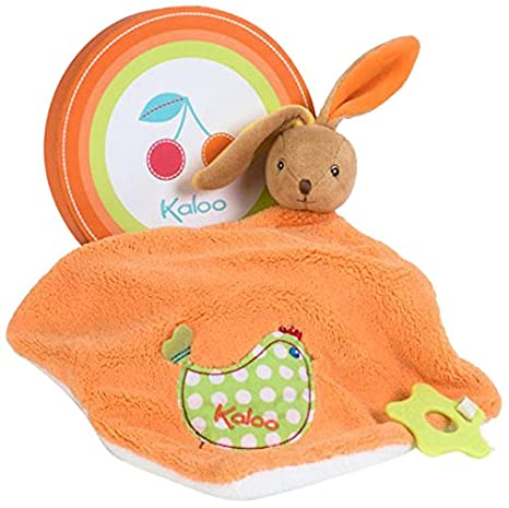 Kaloo Colors Large Rabbit Doudou with Chick Applique and Teething Ring
