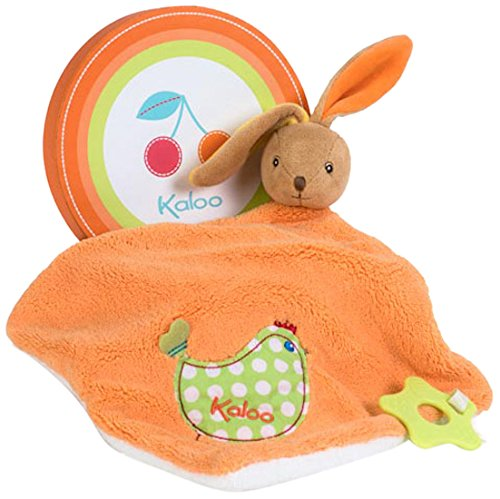 Kaloo Colors Large Rabbit Doudou with Chick Applique and Teething Ring (Toy Soft Doudou)