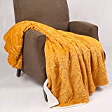 yellow and light blue - Home Soft Things BOON Knitted Tweed Throw Couch Cover Blanket, 50 x 60, Jo Joba Yellow