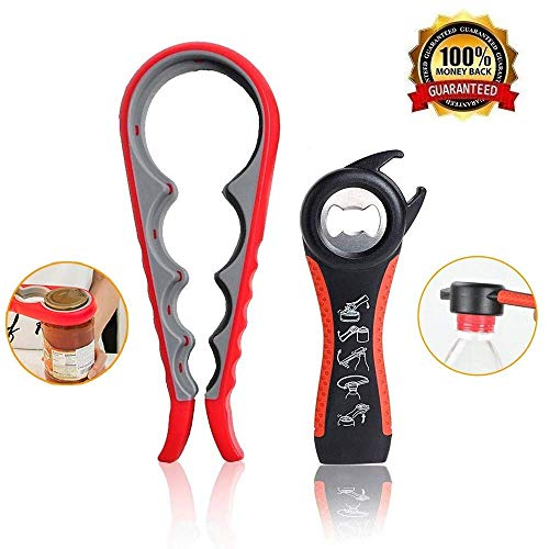Bottle Can and Jar Grip Opener 2 Pack, 5-in-1 Multi Kitchen Tools Set and 4-in-1 Jar Grip Opener, Lid Seal Remover Lid Twist Off for Children, Weak Hand and Seniors with Arthritis