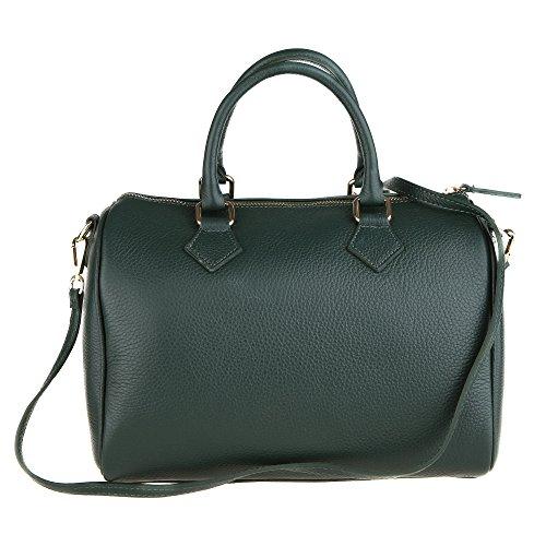 Chicca Borse Frau Handtasche Boston Tasche mit Schultergurt aus echtem Leder Made in Italy 30x23x18 Cm Grün