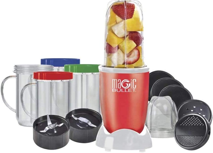 Magic Bullet 17 Piece Food Processor RED-Limited Edition - The Original - As seen on TV Over 40 Million Sold Make Healthy Smoothies and Desserts in 10 Seconds or Less - Chop Mix Blend Whip Mince