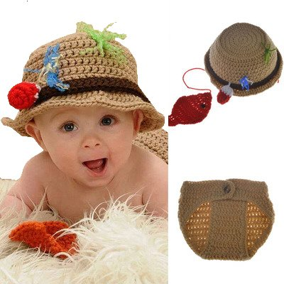 [Baby Newborn Handmade Crochet Photography Props Fishing Fisherman Costume Outfit Fish Hat Diaper] (Fisherman Costume)