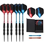 Vopa 20 Grams Professional Steel Tip Dart Set with 2 Styles Flights Aluminum Dart Shafts Case, 6 Pack Metal darts for Dartboard Party Bar Game Room