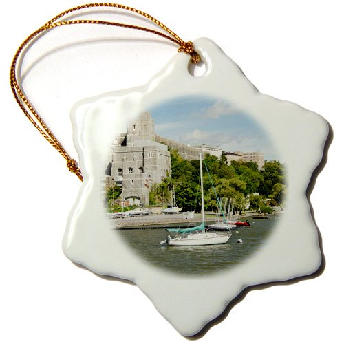 3dRose ORN_190234_1 New York, West Point Academy Army Military Collage, Hudson River Snowflake Porcelain Ornament, 3