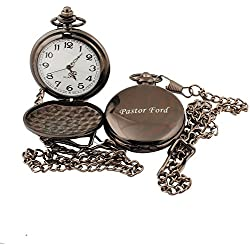 GP Personalized Pocket Watch Custom Gunmetal Watch for Wedding Groomsman Usher Gift