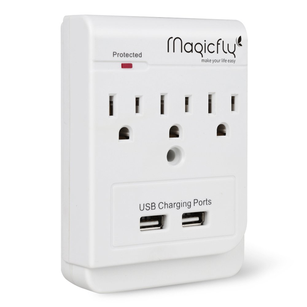 Magicfly Power 3 AC Outlet Socket Wall Mount Surge Protector with Dual USB Charging Port Wall Charger 2.1A (Screw Included) by Magicfly (Image #2)