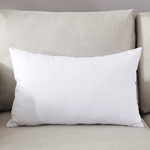 (TAOSON Decorative 100% Cotton Canvas Square Solid Toss Pillowcase Cushion Cover Pillow Case with Hidden Zipper Closure Only Cover No Insert - White 12
