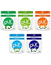 PUR Mints 100% Xylitol Mints, Sugarless Variety Pack, Sugar Free + Aspartame Free + Gluten Free, Vegan & Keto Friendly - Freshens Breath, Low Carb, Simply Pure Natural Flavoured Candy, 20 Pieces (Pack of 5)