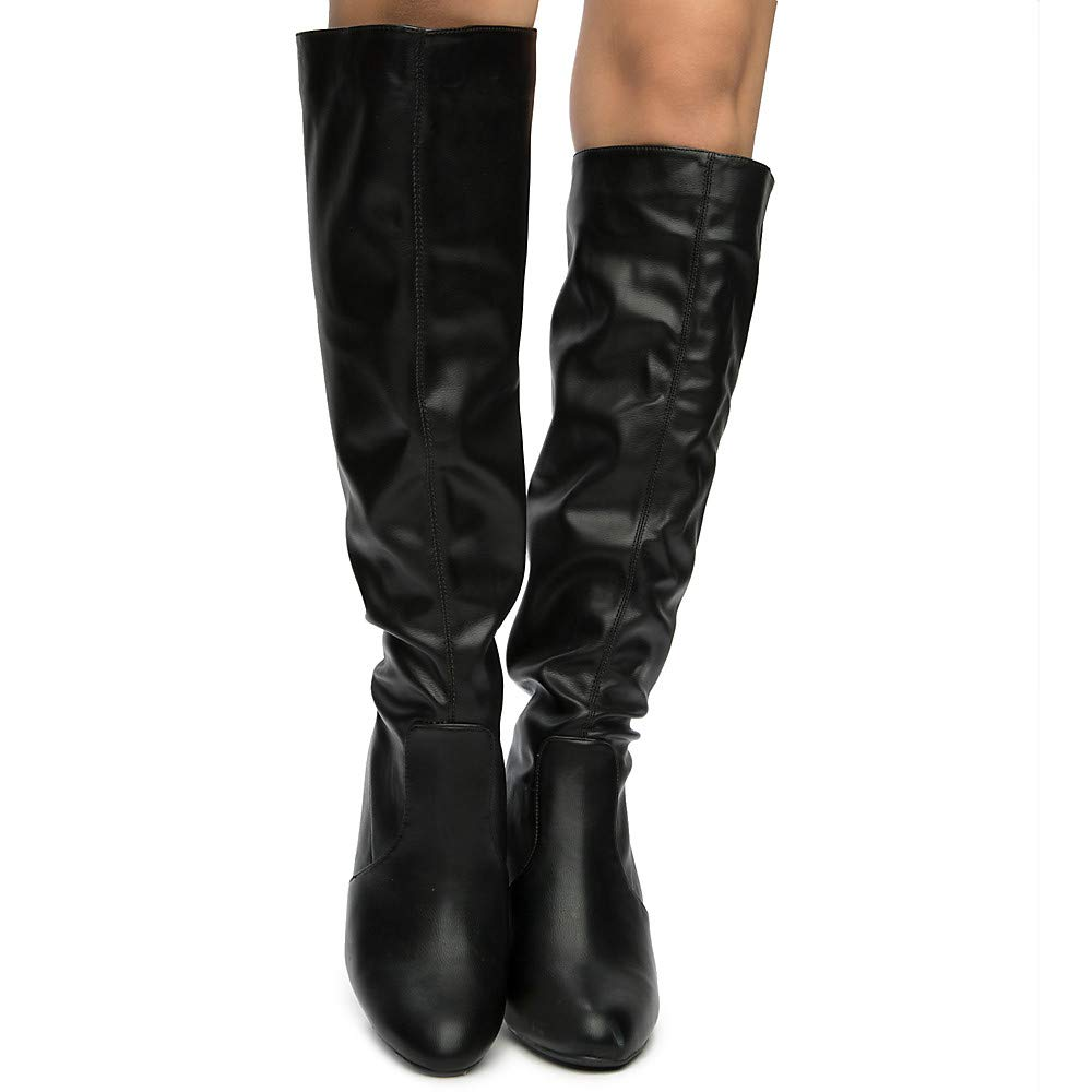 Black Size 7.5 BAMBOO Womens Fresh-01s Knee High Boots Boot