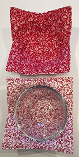 MICROWAVE BOWL COZY Cereal Bowl sz Red White Scroll,handmade,Hot Cold Bowl Cozie Fabric Trivet,Hot pad,Pot Holder,Reversible,Washable