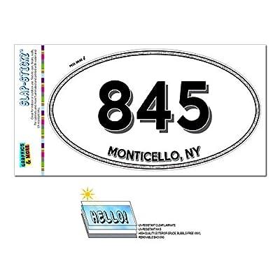 Area Code Oval Window Laminated Sticker 845 New York NY Monticello - Smallwood