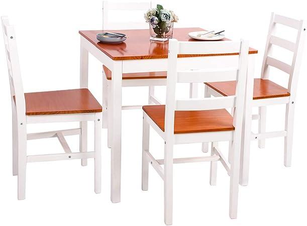 Birtech - Juego de 4 sillas y Mesa de Comedor de Madera de Pino Maciza, Madera, Table+4Chairs: Amazon.es: Hogar