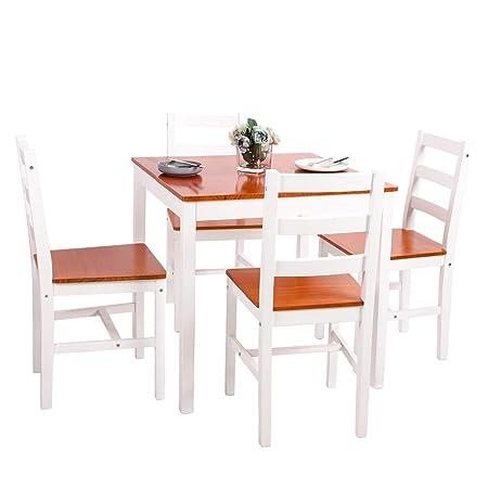 jeffordoutlet Juego de Mesa de Comedor y 2 sillas de Madera Maciza ...
