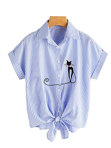 Embroidered Stripe Shirt - Womens Tie Front Knot Tops Shirts Stripe Button-Down T-Shirt Cute Blouse Short Sleeve Tee (6-8(Tags XL), Blue)
