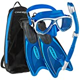 Cressi Palau Long Mask Fin Snorkel Set, Brisbane Blue, X-Small/Small