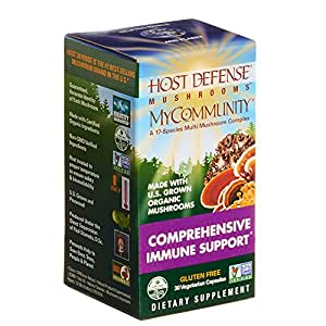 Host Defense - MyCommunity Multi Mushroom Capsules, Comprehensive Support for a Robust and Resilient Immune System with Lion's Mane, Turkey Tails, and Reishi, Non-GMO, Vegan, Organic, 30 Count