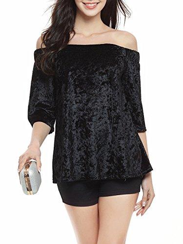 Lafayette Rosette (Bestmail Women's Velvet Loose Harf Sleeve Blouse T-Shirt)