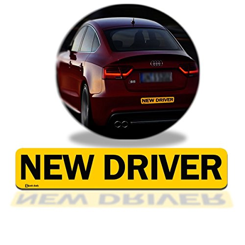 Zento Deals 'New Driver' Car Magnet Black Block Lettering on Yellow Background 3' X 12' 1 Pack