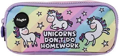 Estuche para lápices de 3 compartimentos FRINGOO, para niños, divertido y bonito, color Unicorns & Homework - 3 Compartments Large: Amazon.es: Oficina y papelería
