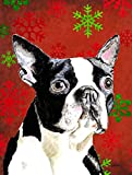 Caroline's Treasures SC9400CHF Boston Terrier Red Green Snowflakes Holiday Christmas Canvas House Flag