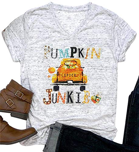 Halloween Pumpkin Spice Junkie V-Neck T-Shirt Women's Casual Printed Costume Top (Small, Grey) -