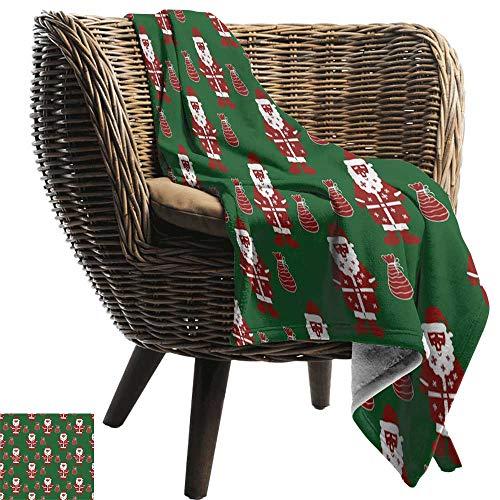 (BelleAckerman Flannel Throw Blanket,Geometric,Santa Claus Holding Present Bag on Vibrant Background Happiness Festive,Green Ruby White,Winter Luxury Plush Microfiber Fabric 50