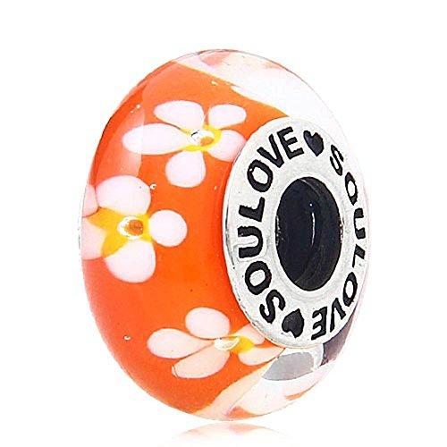Soulove Tropical Flower Charm Murano Glass Orange Beads for European Bracelet