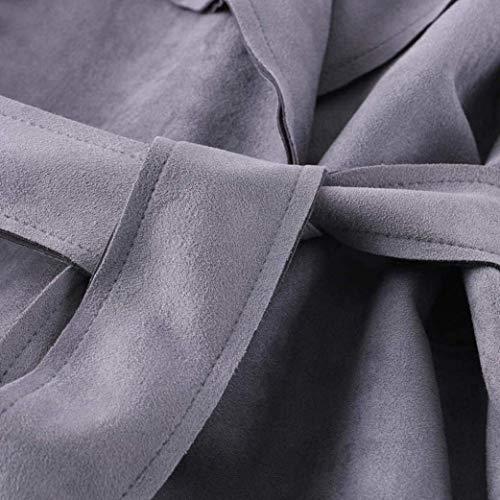 Hipster Parka Sólido Elegantes Color Cinturón Solapa Imitación Manga Otoño Retro Primavera De Larga Gamuza Chic Grau Abrigos Mujer Largos Windbreaker Outerwear Moda Con tqZw00
