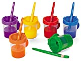 Lakeshore No-Spill Paint Cups and Brushes - 6-Color Set
