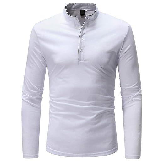 HhGold Camisa de Polo para Hombre Top de Manga Larga Casual ...