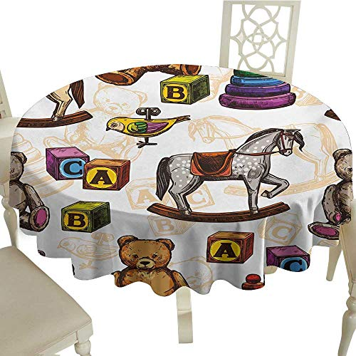 Cranekey The Restaurant Round Tablecloth 36 Inch Vintage,Retro Style Kids Toys Rocking Horse Teddy Bear and Bird Illustration Print,Brown and Grey Suitable for Home Coffee Bar,Party,Wedding,& ()