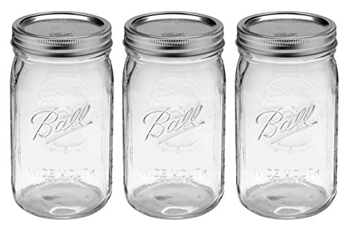 3 Ball Mason JarS, Wide Mouth 32 oz. (Quart) with Lid and Band - Clear