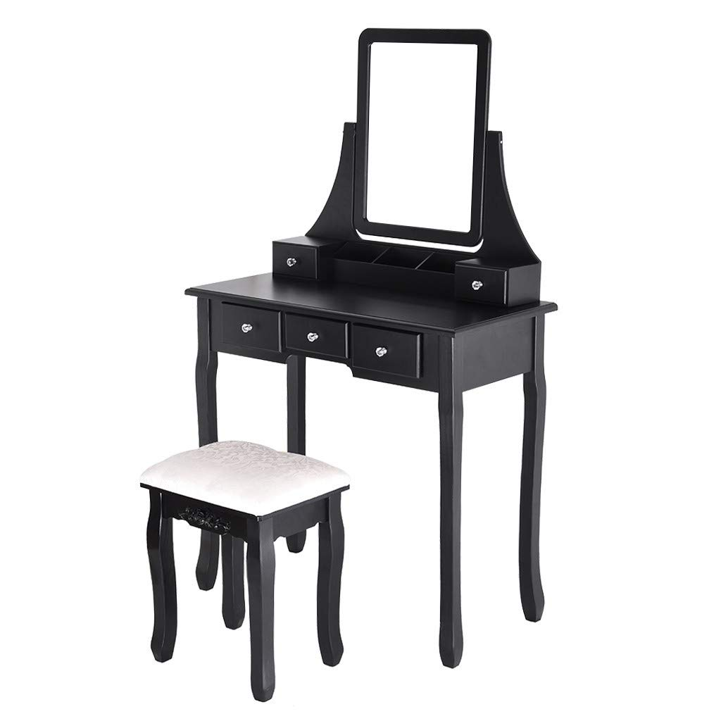Vanity Set with Mirror & Cushioned Stool Dressing Table Vanity Makeup Table 5 Drawers 3 Dividers Movable Organizers Black
