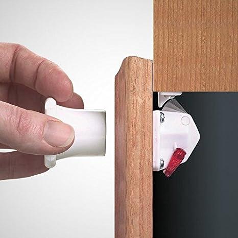 EMUCA 8929420 Cerraduras magnéticas de seguridad para niños/bebés para armarios/cajones/puertas + 1 llave, Blanco: Amazon.es: Bricolaje y herramientas