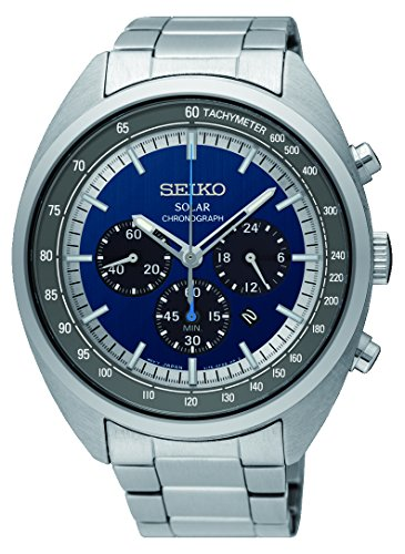 Seiko Men's 45mm Steel Bracelet & Case Hardlex Crystal Solar Blue Dial Analog Watch (Solar Watch Blue Dial)