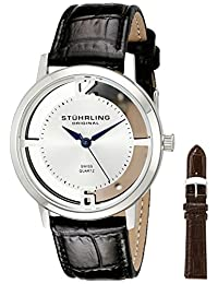 Stuhrling Original Men's 388G2.SET.01 Classic Winchester Cathedral Swiss Quartz Stainless Steel Black Leather Additional Strap Watch Set