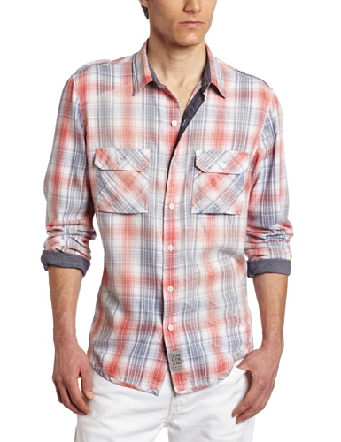 Calvin Klein Jeans Men's Weathered Plaid Long Sleeve Military Shirt