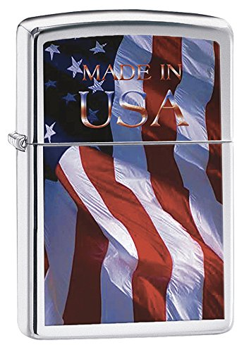 Zippo Made in USA Pocket Lighter, Brushed Chrome