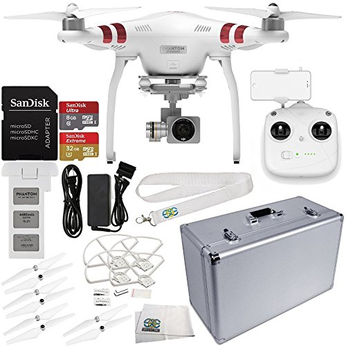 DJI Phantom 3 Standard with 2.7K Camera and 3-Axis Gimbal & Manufacturer Accessories + DJI Propeller Set + SSE Aluminum Hard-Shell Case + MORE